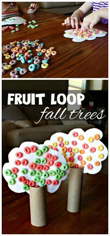 toilet paper roll fall tree craft  fruit loops