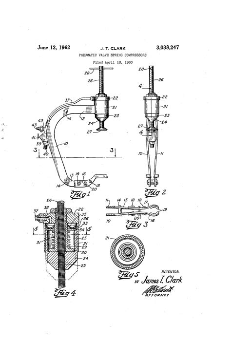 Patent US3038247 - Pneumatic valve spring compressors