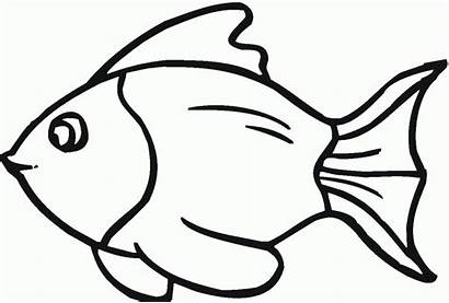 Fish Coloring Pages Simple Outline Drawing Line