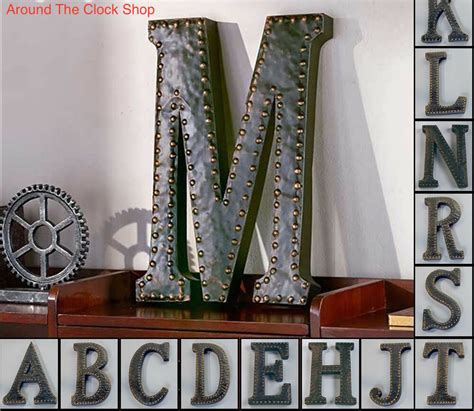 vintage metal monogram initials industrial style wall hanging letters art decor ebay