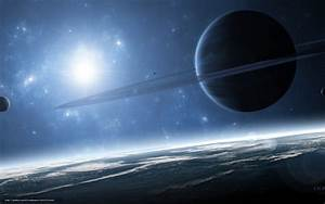 Download wallpaper gas giant, Planet, satellites, Ring ...
