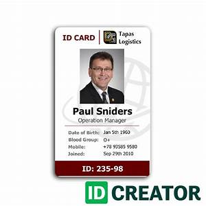 professional employee id card from idcreator With staff id badge template