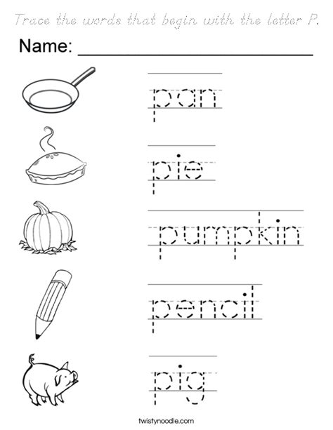 5 letter words that start with a trace the words that begin with the letter p coloring page 20240 | trace the words that begin with the letter p coloring page dnoutline