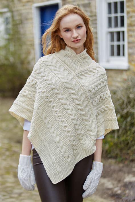 merino aran knit poncho ebay