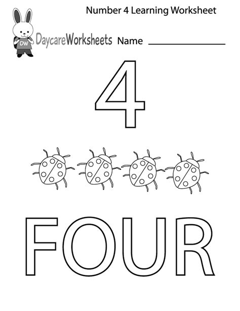 number 4 preschool worksheet number 4 worksheets for children activity shelter 359