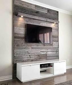 Mur Tv Bois : mur en bois de grange dans un salon deco pinterest ~ Teatrodelosmanantiales.com Idées de Décoration