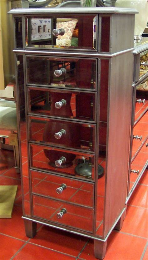 venetian mirrored tall lingerie chest drawers silver
