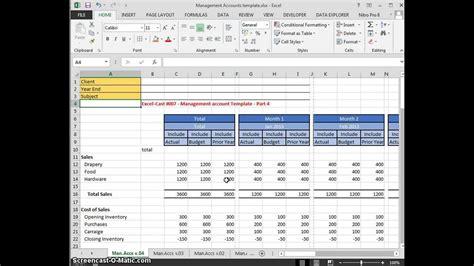 excel cast  management accounts template part