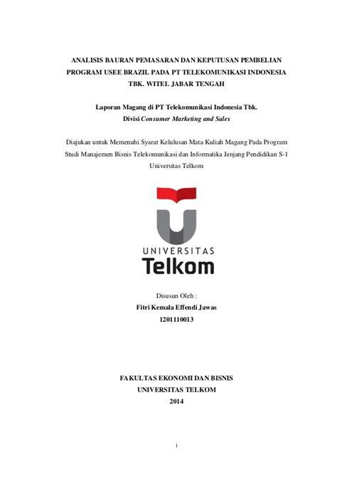 daftar isi laporan magang  pt telekomunikasi indonesia