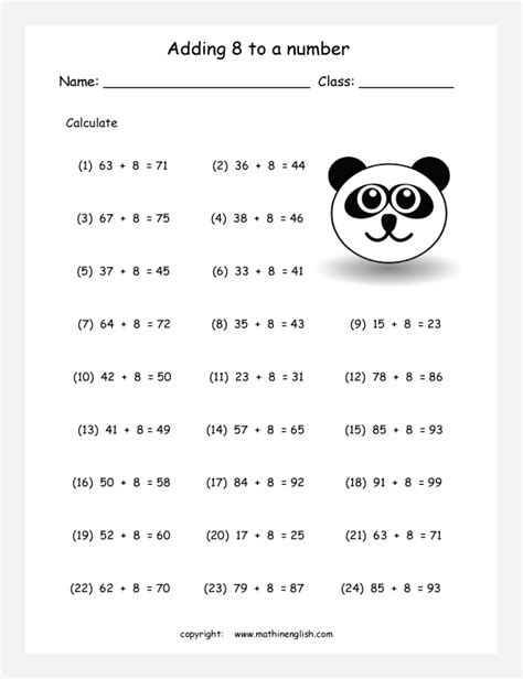 addition    worksheet practice material  number
