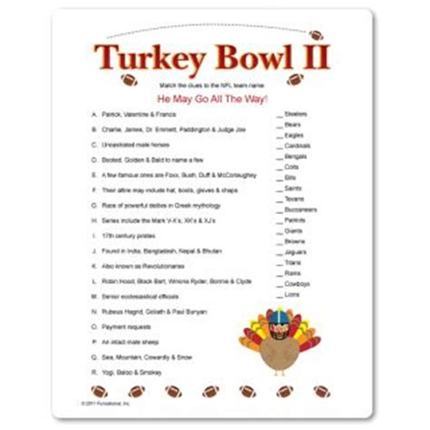 best christmas themed team names part 2 of turkey bowl matching clues to team names must a sense of humor about your
