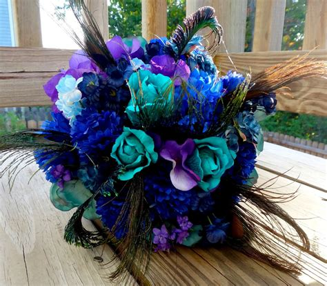 Peacock Bridal Bouquet Teal Purple Blue Bridal Bouquet With