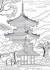 Japanese Temple Japan Tattoo Coloring Adult Adults Printable Favoreads Sheets Coloriage Landscape Japoneses Dibujos Drawing Samurai Pagoda Embroidery Draw Tempel sketch template