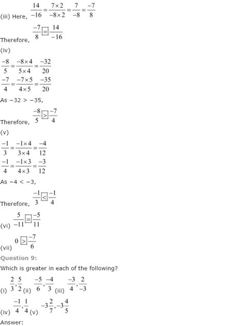 maths worksheets for grade 7 rational numbers ncert