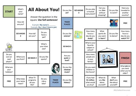 All About You Board Game Worksheet