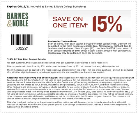 coupons for barnes and noble barnes noble 15 printable