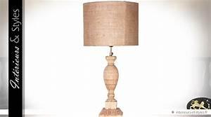 Abat Jour Salon : lampe de salon en teck sculpt et abat jour jute 40 cm int rieurs styles ~ Teatrodelosmanantiales.com Idées de Décoration