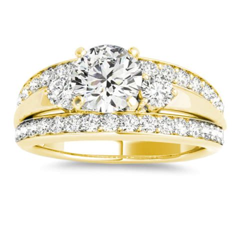 wide band engagement ring diamond side stones 14k yellow