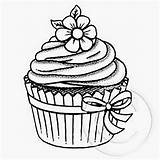Cupcake Drawing Cakes Cupcakes Drawings Colouring Coloring Cake Pages Sheets Riscos Stamps Sorvetes Bolos Ice Creams Easy Google Kawaii Books sketch template