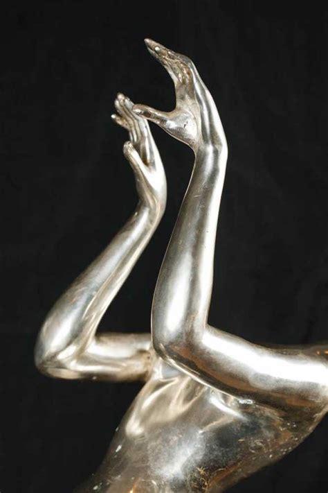 large silver bronze art deco dancing figurine statue