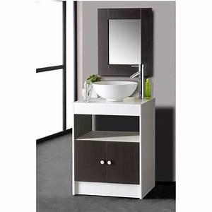 sasna kit sous vasque avec miroir achat vente ensemble With meuble salle de bain avec vasque et miroir