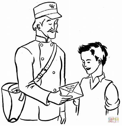 Coloring Pages Mailman Office Printable Postman Drawing