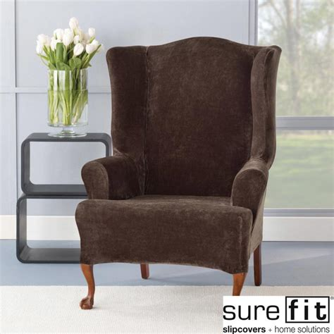 Accent Chair Slipcover Sure Fit Stretch Plush Chocolate Wing Chair Slipcover