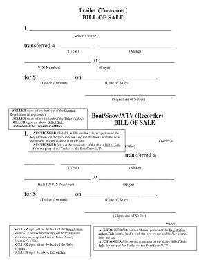 Boat Bill Of Sale Mn by Bill Of Sale