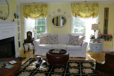 window treatments country enchanting yellow white country living