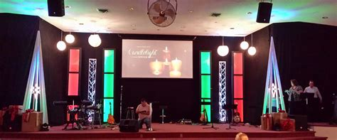 hanging christmas church stage design ideas