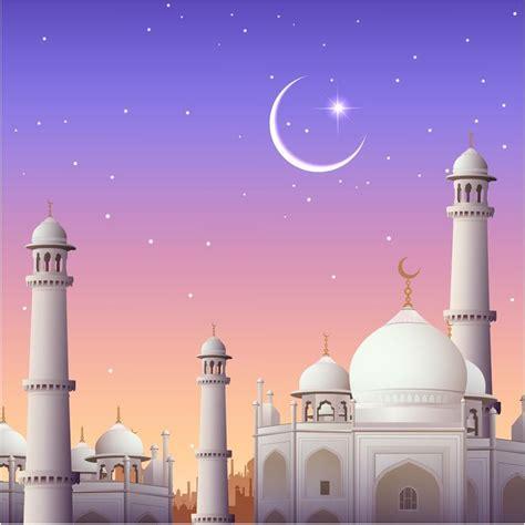 mosque eid card design vector background idul fitri