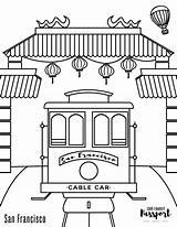 Coloring San Francisco Chinatown Cable Passport Trolley sketch template