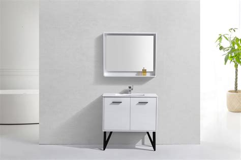 Modern Lux 36 High Gloss White Bathroom Vanity W Quartz
