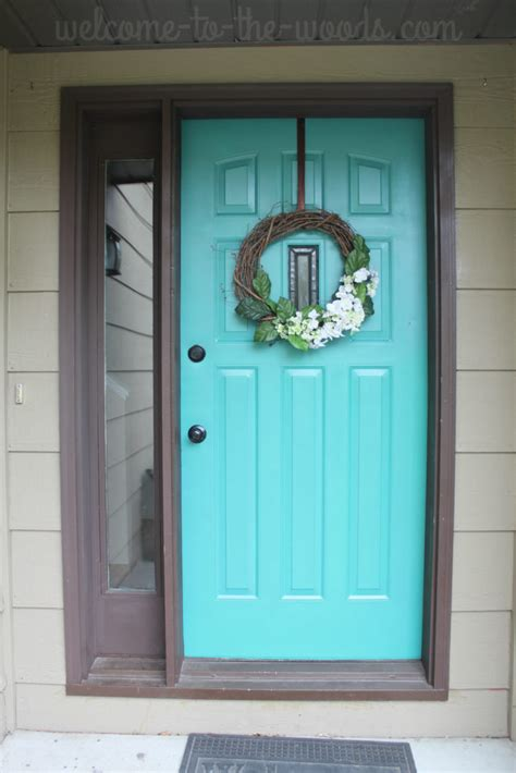 front door refresh paint it turquoise entryway makeover part 1 welcome to the woods