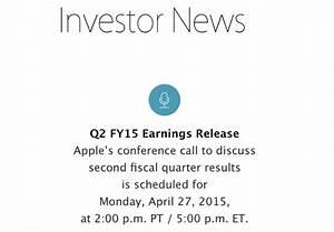 Apple to Announce Q2 2015 Earnings on April 27 - Mac Rumors