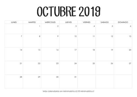 calendario octubre imprimir calendario