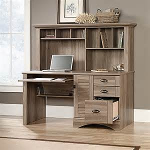 sauder harbor view salt oak computer desk with hutch 415109