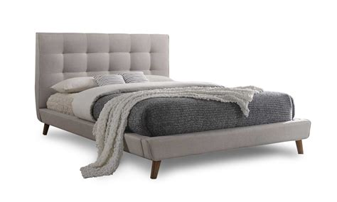Beds Bed Frames by Milan Bed Frame In Light Taupe Fabric