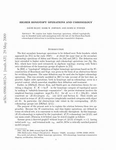 Pdf  Higher Homotopy Operations And Cohomology