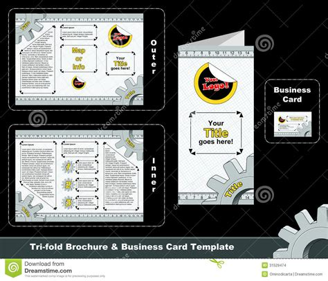 tri fold business cards template tri fold depliant and business card template stock images