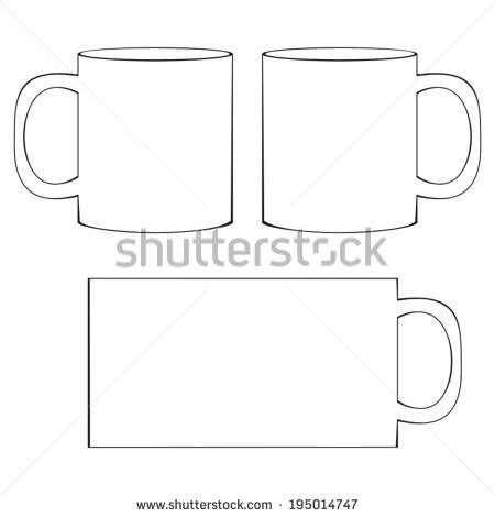 mug template coffee mug template blank white coffee stock vector 195014747
