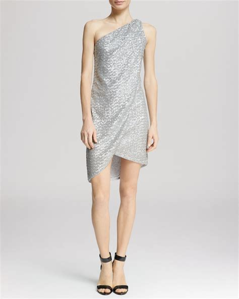 draped one shoulder dress lyst dress one shoulder draped sequin in metallic