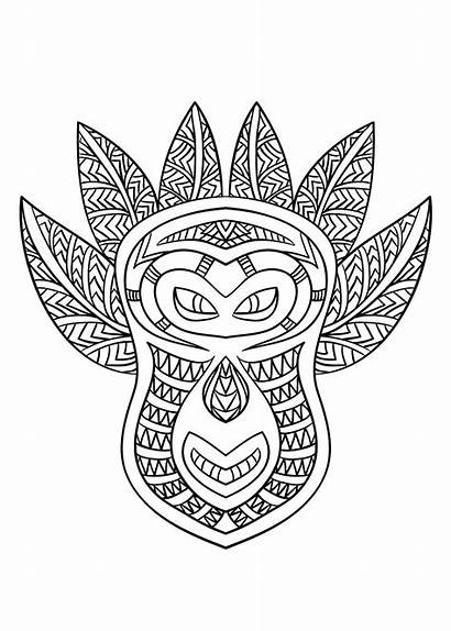 Coloring African Pages Mask Adult Africa Printable