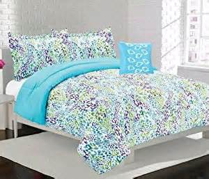 amazon com girls teen bright blue purple and green leopard print comforter set full home