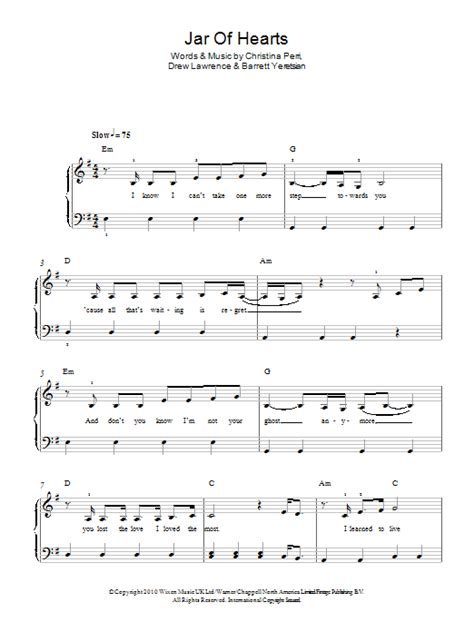 kunci piano jar of heart jar of hearts sheet music direct