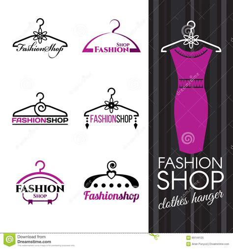 fashion shop logo violet clothes hanger vector set design stock vector illustration 69144125