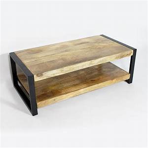 table basse industrielle metal et bois made in meubles With meuble en manguier massif 14 table basse meuble tv bois massif et metal industriel