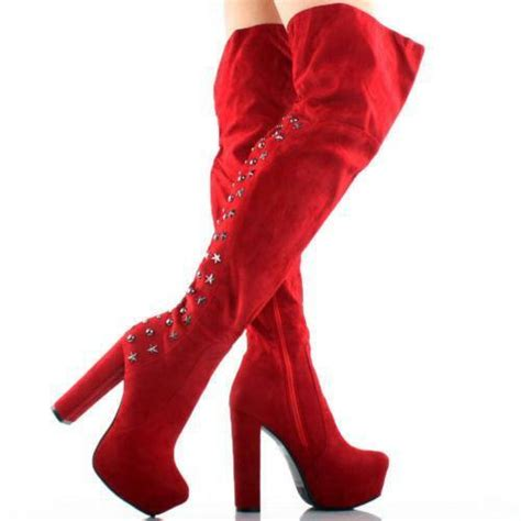 red   knee boots ebay