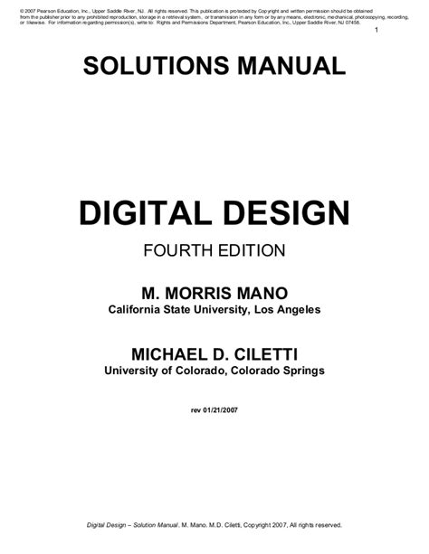 solution manual  digital logic  computer design