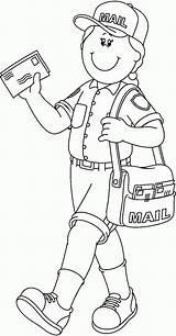 Mailman Helpers Coloring Community Pages Helper Preschool Crafts Worksheets Workers Visit sketch template